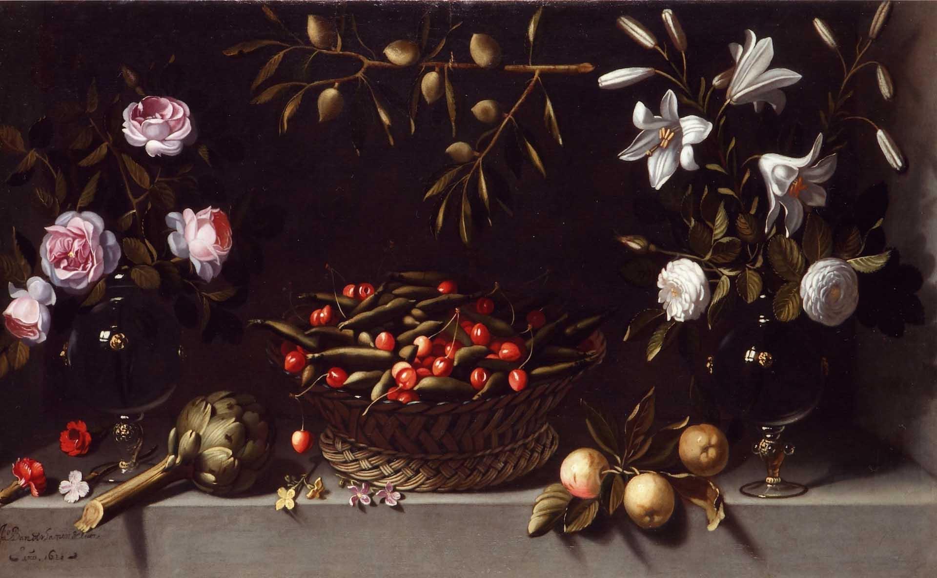 Ventas destacadas Juan Van der Hamen y Leon Bodegon con cesta de guisantes y cerezas flanqueado por dos jarrones de cristal con rosas Galeria Caylus