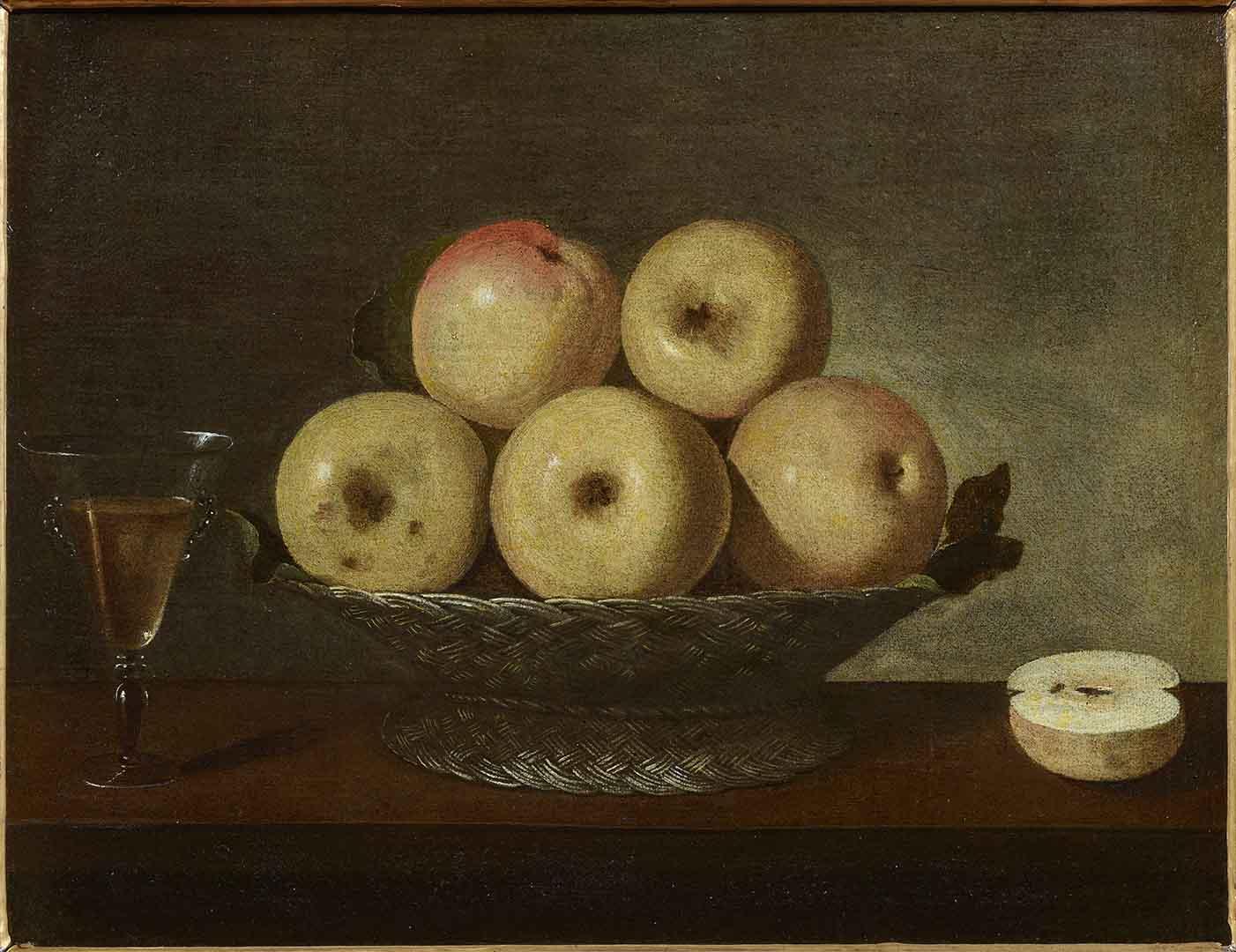 Catalogo Bodegon con manzanas y copa de vino Pedro de Camprobin Galeria Caylus