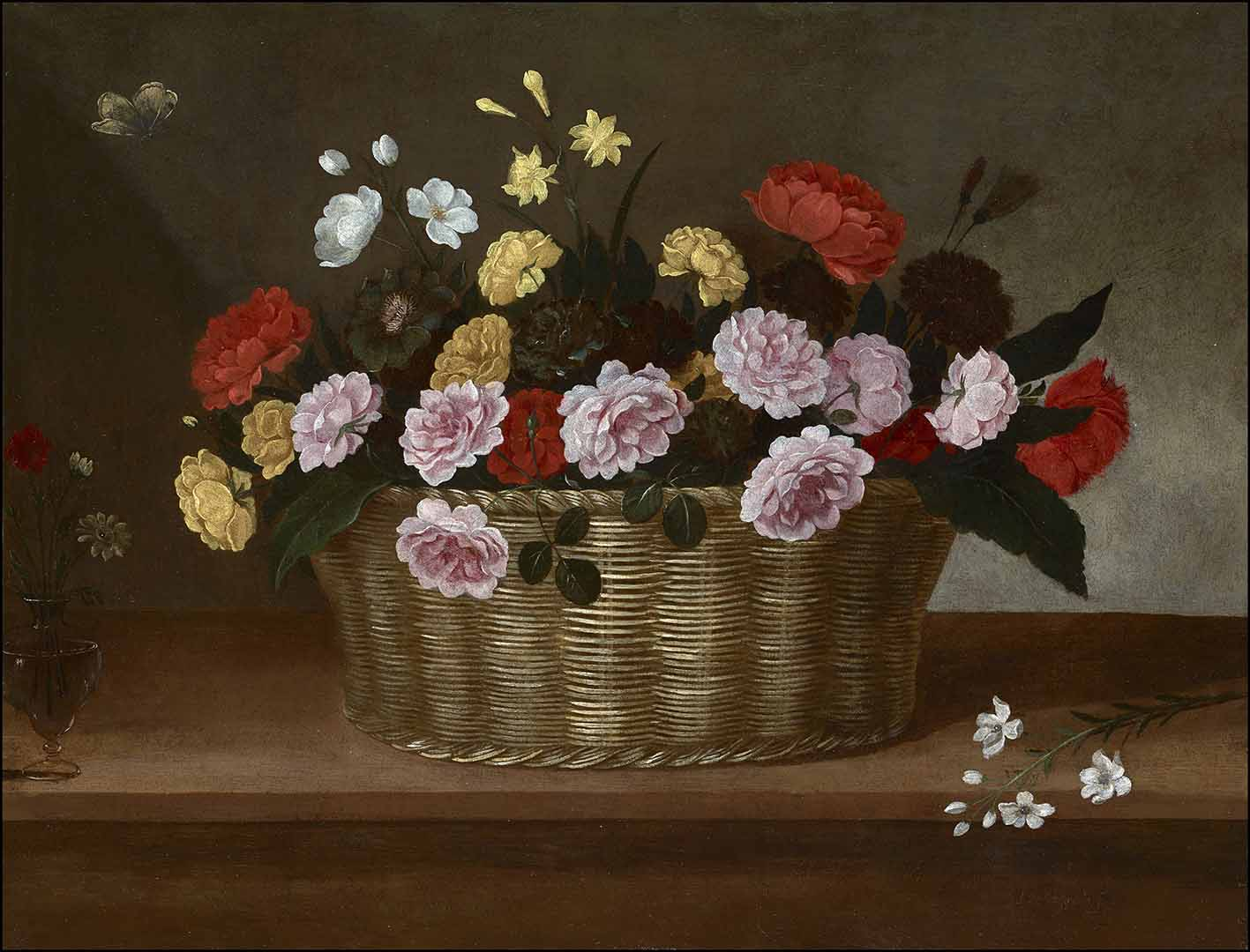 Catalogo Cesta con rosas amarillas y rosas peonias y narciso, una rama de nardo y una copa de vidrio con rosas Pedro de Camprobin Galeria Caylus