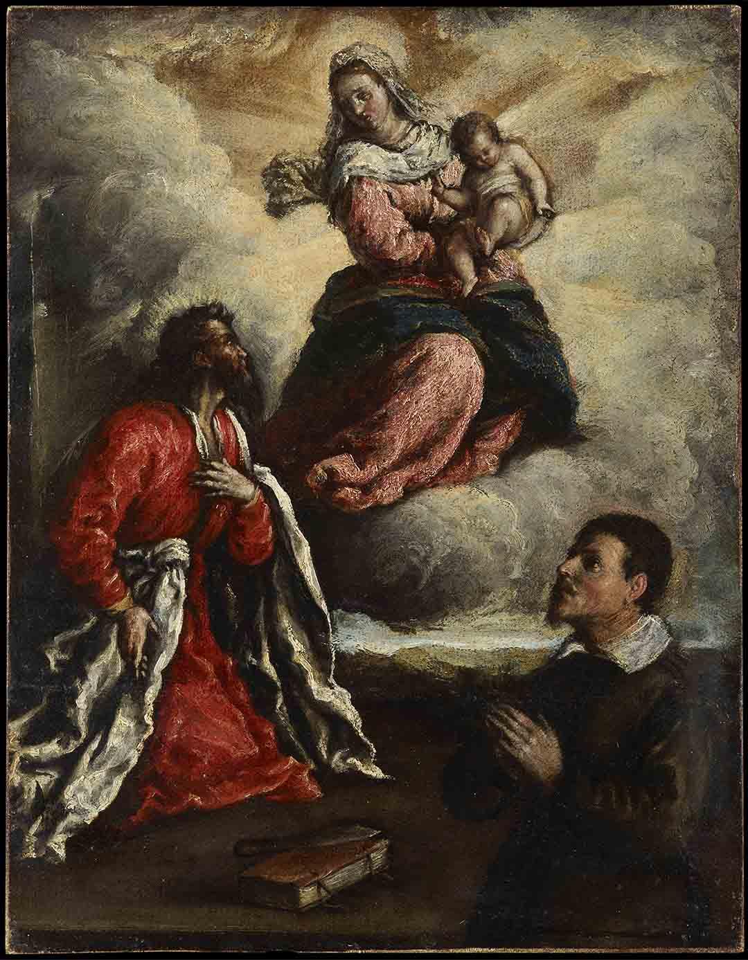 Catalogo San Mateo adorando a la Virgen y el Nino con un donante Marcanatonio Bassetti Galeria Caylus